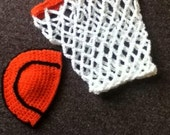 Crochet newborn basketball hat and net cocoon