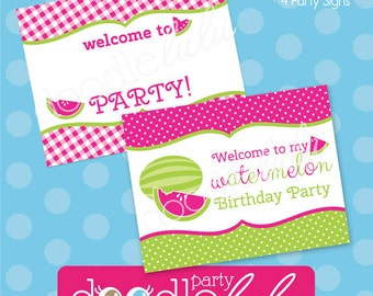Watermelon Birthday Party Signs - Pink and Green Watermelon Party - Spring Birthday Party - PRINTABLE - INSTANT DOWNLOAD