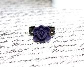 Deep Purple Flower Ring, Pastel Pink Adjustable Antique Bronze Filigree Ring, Bronze Ring, Cocktail Ring, Bridesmaid Gift