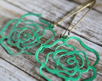 Rose Earrings, Jade Green, Flower Earrings