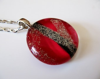 Red, Black abstract glass necklace