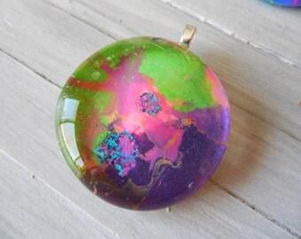 Glass swirl pendant purple,green pink