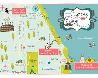 Custom Map Invitation Chicago