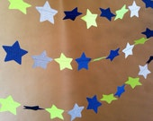 Navy Blue, Lime Green and Shimmery Silver Twinkle, Twinkle Garland Christmas Party Decor, Photo Prop, Baby Shower Decor, Classroom Decor