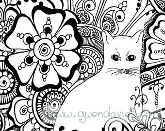 Colour The Cat With Henna Flowers