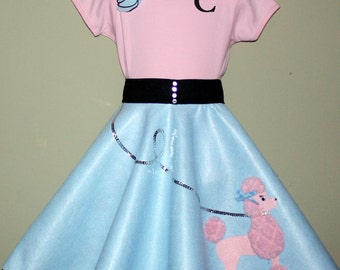 New Glrls Size Medium 3pc Baby blue and Pink Patty poodle skirt outfit