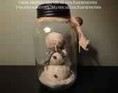 Snowman Snowglobe Primitive Mason Jar Snow Globe BEST SELLER