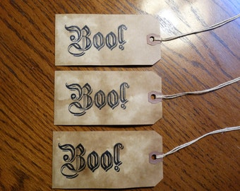 SET of 3 Large Primitive Halloween BOO Hang Tags