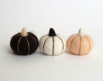 Needle felted miniature pumpkins :  felt small pumpkin v7 (set of 3) -  vanilla, white, dark brown Autumn decor