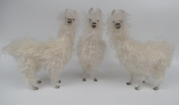"Porcelain and Mohair Llama Figures 11"""