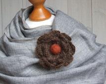 FLOWER BROOCH pin Crochetted flower coat pin, beige crocheted flower pin