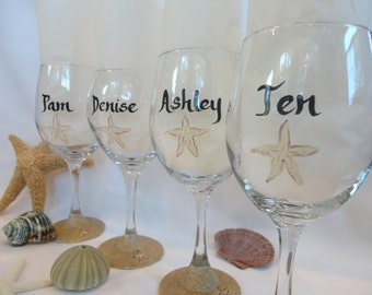 STARFISH Wine Glasses - Beach Wine Glasses -Hand Painted Bridal Wine Glasses - Bridesmaid Wine Glasses -FREE Gift boxes!