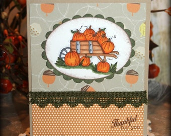 Thankful For You Handmade Fall/Autumn Thanksgiving Pumpkins Greeting Card