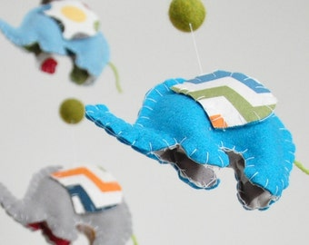 Baby Crib Mobile, Elephant mobile in Blue, Grey and Orange