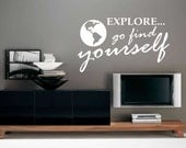 Vinyl Wall Lettering Explore Find Yourself Motivational Quotes World Globe Decal