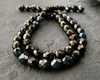 8mm Faceted Round Glass Beads, Czech Glass Beads, Fire Polished Beads, Jet & Iris Brown (20pcs) NEW