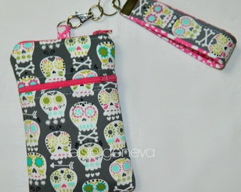 Gray Skulls and Hot Pink Hearts iPhone 6 Phone Case with Wristlet Zipper Closure Teal