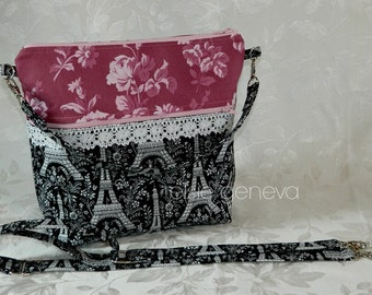 Choose Any Fabric in My Shop Black Eiffel Tower and Vintage Rose Knitting Project Purse Wristlet   Zipper Closure