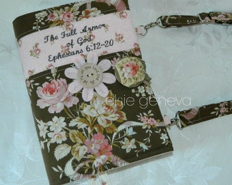 Vintage Brown & Pink OR Aqua and Grey Roses Bible Cover Made to Fit Journal Blue Paisley Optional Handles Personalize Option
