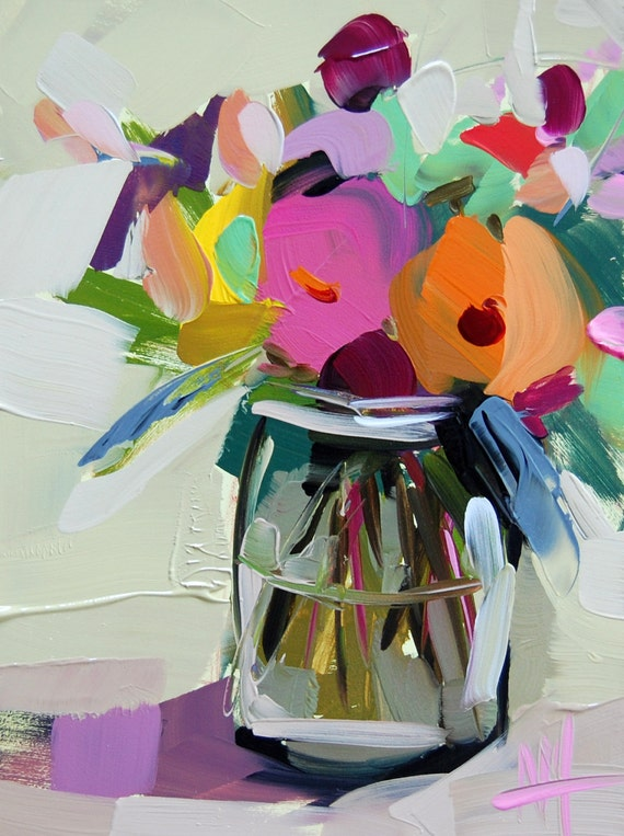 Country Flowers In Jar Original Still Life Oil Painting By