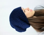Slouchy Beanie Hat  Mens Hat Womens Hat Chunky Hat Navy