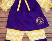 Purple and Gold Capri  Set