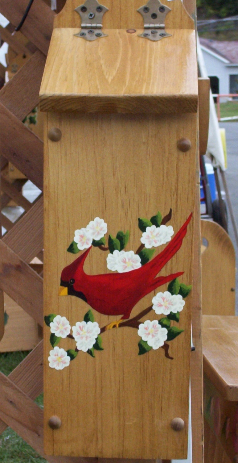 plastic bag holder red cardinal acrylic painting wood box. Black Bedroom Furniture Sets. Home Design Ideas