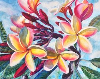 Tropical Plumeria Flowers, Original Large Watercolor Painting Art, Beautiful Hawaiian Koa Wood Frame Artist Christie Marie E. Russell
