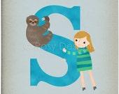 S is for Sloth - Customizable 8x10 Alphabet Art Print