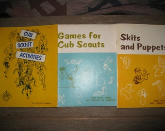 3 Vintage Boy Scouts Cub Books Lot Games Skits Puppets Activites Sixties Seventies 1960s 1970s Educational Books Scout Leader Gift