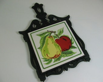 Cast Iron Trivet with Pear and Apple Tile - Vintage - Hot Pad - Fruit -