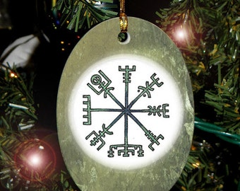 Collectable Vegviser, Viking Compass Heathen Asatru Yule Holiday Ornament/Car Charm