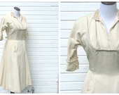 Vintage 50's dress / fifties ivory dress with pearl and sequin floral collar / 28 waist