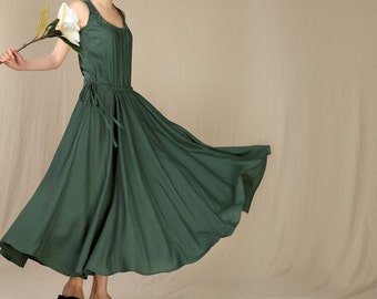 Summer dress Loose fitting Long Sundress Maxi Dresss in Green (more colour and size choice)-NS01
