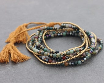 Jasper Faceted Stone Tassel Long Necklace