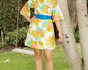Vintage Joseph MAGNIN Fluorescent Floral Mini Dress