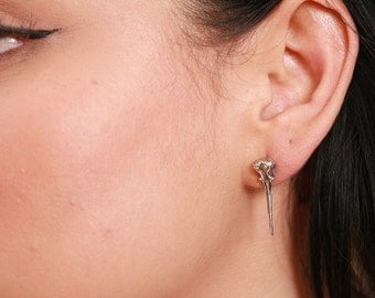 One Single Hummingbird skull stud post earring( not a pair )  in sterling silver made in NYC
