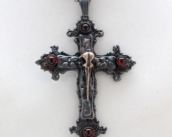 Hummingbird Skull Cross in blackened sterling silver made to order