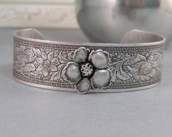 Gypsy Flower,Bracelet,Cuff,Silver Bracelet,Cuff Bracelet,Bracelet,Silver,Antique Bracelet,Flower Bracelet,Gypsy Bracelet.valleygirldesigns.