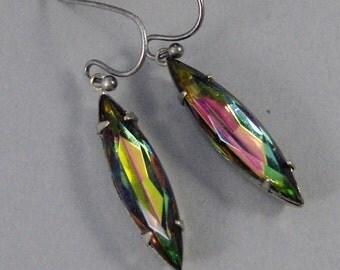 Vitral Earrings,Earrings,Silver Earrings,Vintage Earrings,Earrings,Blue Earrings,Rainbow Earring,Stud Earrings,Post Earrings.Valleygirldesig