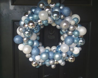 Holiday Silver and Blue Ornamet Wreath