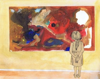 A Young girl contemplates an abstract expressionist painting