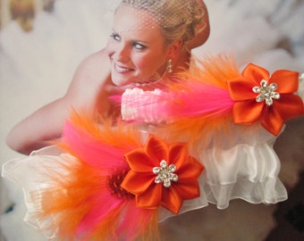 ORANGE & Pink Wedding Garter Set, Rustic Garters, Pink and Orange Feather Garters, White Bridal Garter, Autumn Beach Wedding