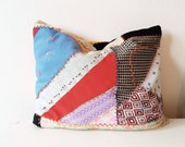 vintage patchwork throw pillow
