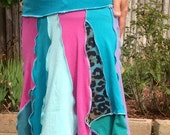 Turquoise Leopard Patchwork Skirt - Pixie Strapless Skirt - Patchwork Dress made from T-Shirts - Light Summer Skirt - Scraps Skirt or Dress