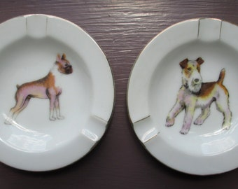 2 Vintage Dog Ashtrays Pin Dish, Porcelain, Made in Japan, Terrier and Boxer