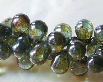 6x4mm Teardrop Beads - Czech Glass Beads - Jewelry Making - Jewelry Supplies -Forest Green Luster Tear Drop Beads (100 beads)