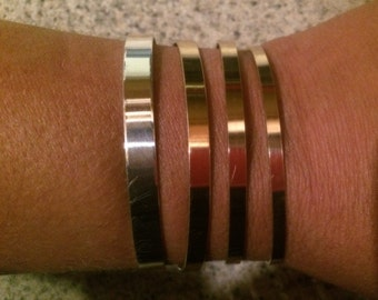 Argentium silver or 14kt yellow gold fill cuff, choose from 3mm, 4mm, 5mm, 6mm wide