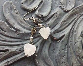 Geode Druzy Heart Dangle Earrings -Rock Hard Love- White Druzy, Brown Crystal, Brass Hearts, Tan Agate on Brass