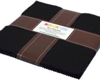 "Kona Cotton Solid Black Ten Squares by Robert Kaufman Fabric -Black 42 pcs - 10"" x 10"" squares (TEN-122-42)"